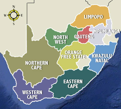 Provinces of SA Map